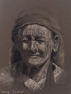 Portrait of an old woman from Sikkim, India. By Indian artist Manju Panchal