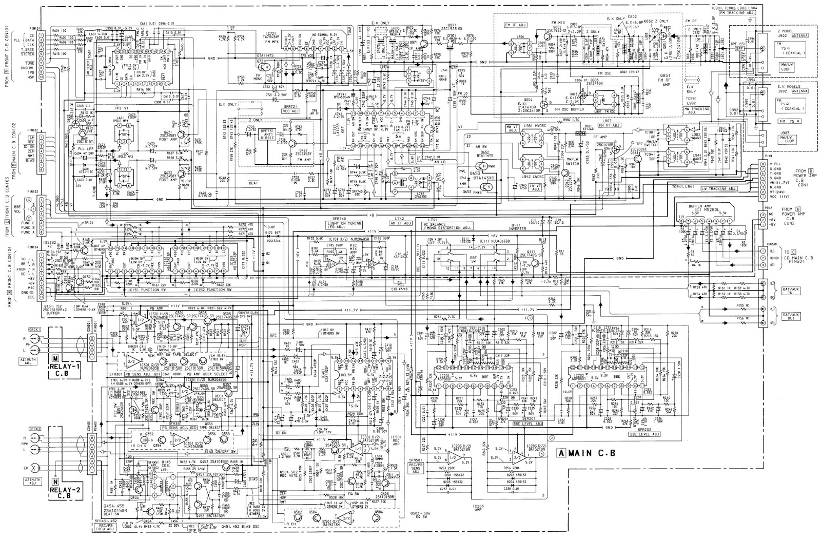 medium resolution of aiwa nsx 800 compact disc stereo system schematic and pwbs