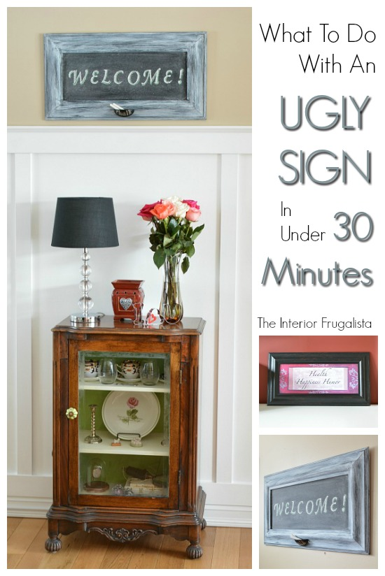 Framed Art to Fun Chalkboard Before and After