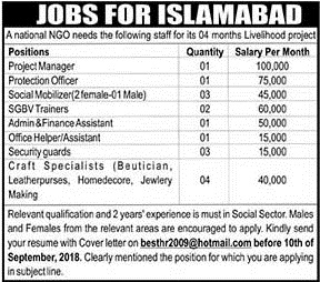Staff Required in Islamabad September 2018