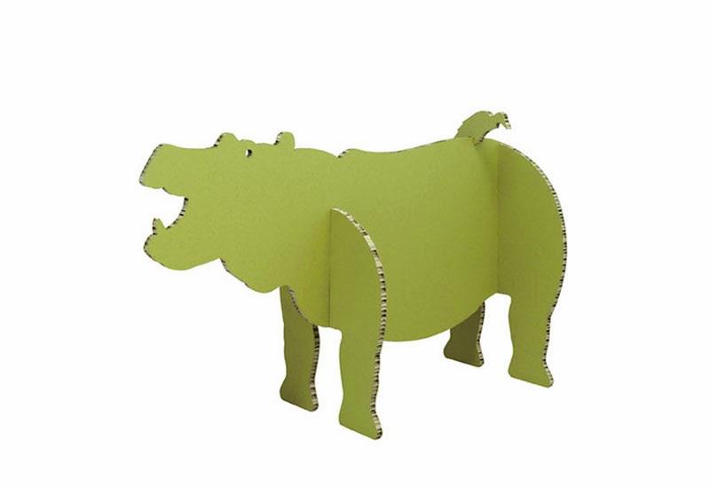 Hipopótamo de cartón corrugado Streep A4A Design