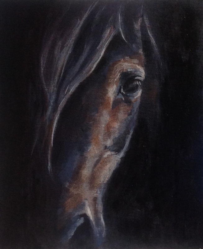 Something in the way, acrylic horse painting, equestrian art