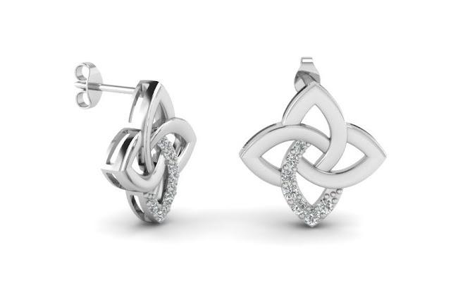 Celtic Knot Diamond Stud Earrings