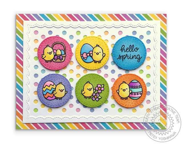 Sunny Studio Stamps: Chubby Bunny Easter Card (using Frilly Frames Polka-Dot Die & Spring Sunburst Papers)