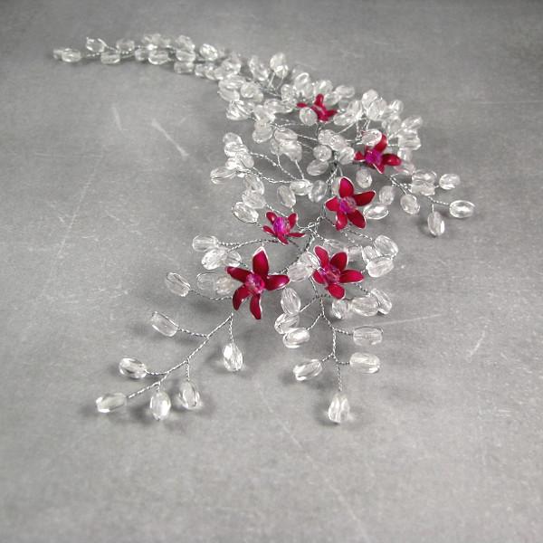 Ślubny stroik do włosów - gałązka wiśni.