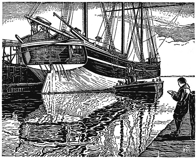 An 1935 ink drawing by Rowley Murphy