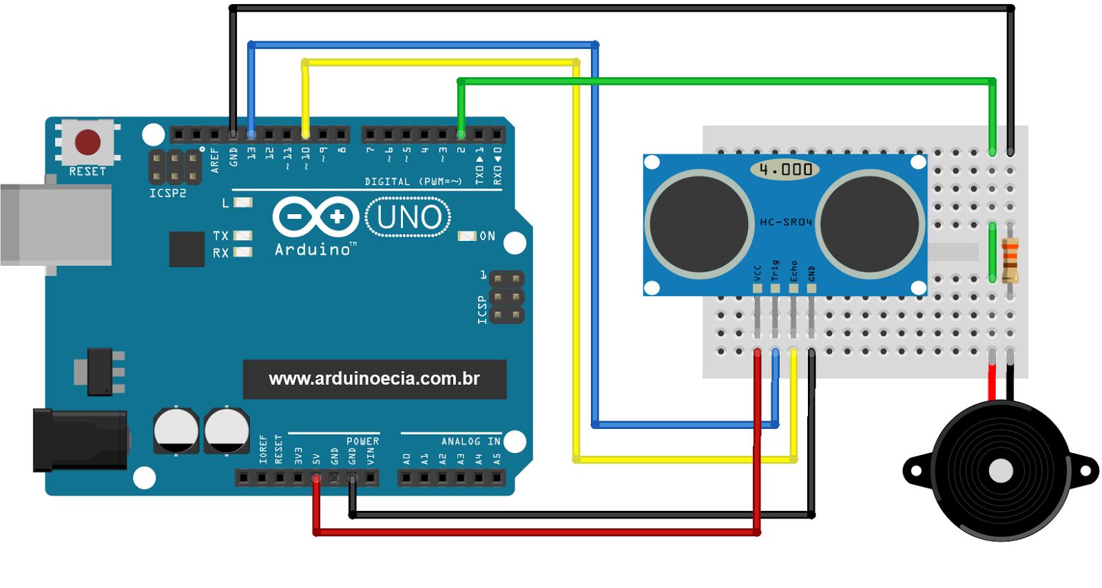 Circuito Sensor de estacionamento com sensor ultrasonico HC-SR04