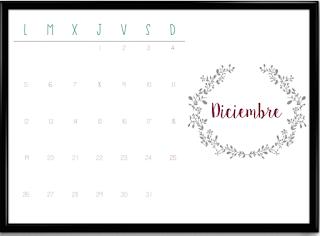 Calendario diciembre horizontal