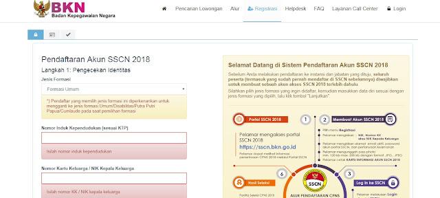Tips Mendaftar CPNS Saat Registrasi Akun di SSCN BKN 2018 Jaringan Sibuk