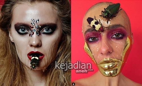 Russian makeup artist using dead fish Ikan Mati Jadi Riasan Wajah Wanita Ini Dihujat