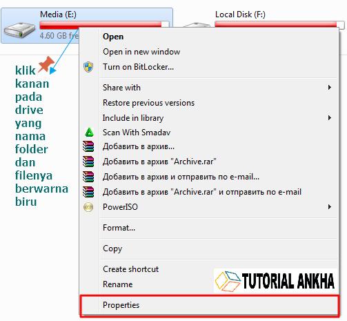 Cara mengatasi nama File atau folder yang berwarna biru