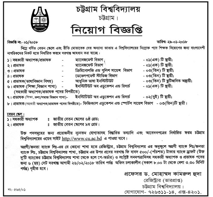 University of Chittagong (CU) Teacher Recruitment Apply Instruction, Application Fee, Payment Process, Salary, Age and Other Information