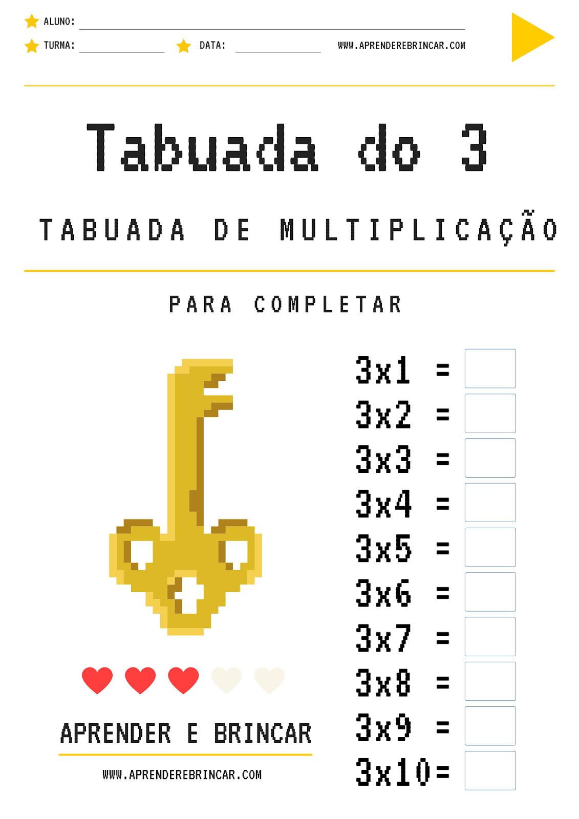 Tabuada de multiplicação do 3