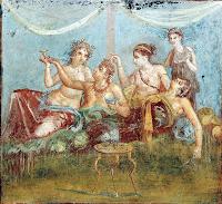Las cortesanas amenizaban las fiestas de los patricios romanos. Fresco, Museo Arqueológico Nacional, Nápoles.