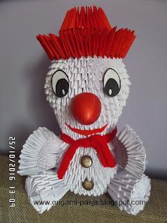 bałwan, bałwanek, zima,origami, modułowe, 3d, rękodzieło, biały, papier, z bajki, na prezent, święta, ozdoba