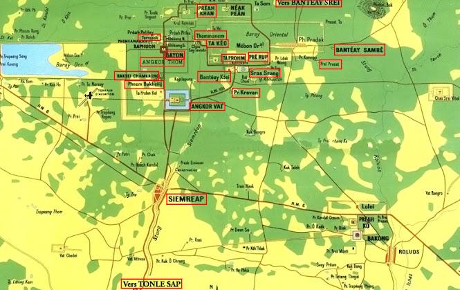 Carte des monuments du parc d'Angkor