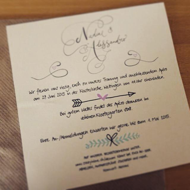 Kalligrafie Hochzeitskarte Romanaschrift