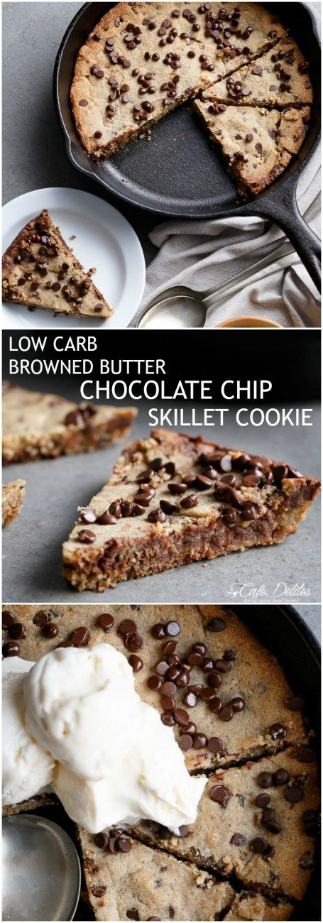 Low Carb Browned Butter Chocolate Chip Skillet Cookie #LOWCARB #DESSERT