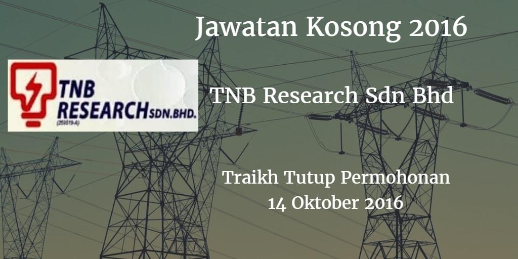 Jawatan Kosong TNB Research Sdn Bhd 14 Oktober 2016