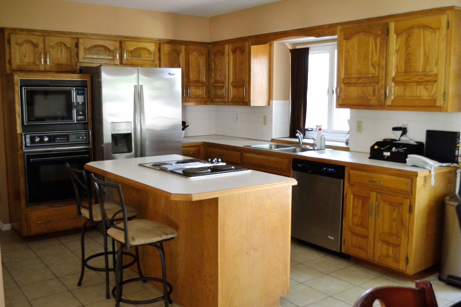 Wonderful image of  Green Life: How I Transformed My Kitchen Cabinets from Dark to White with #6E4113 color and 1600x1066 pixels
