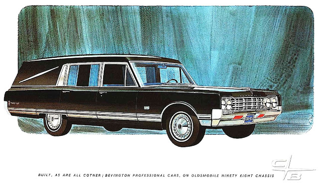 a 1965 Oldsmobile Funeral Coach advertising illustration