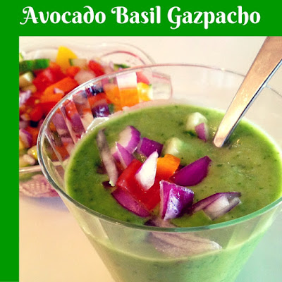creamed avocado gazpacho with chopped vegetables