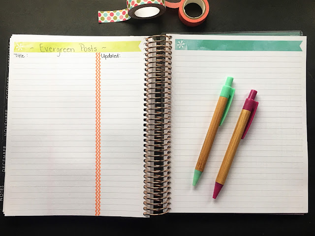 The Erin Condren planner laid open to the notebook pages in the end.