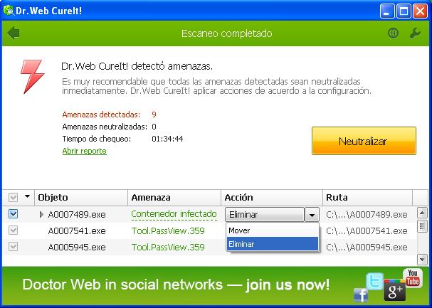 Seleccionar la acción correcta Dr. Web