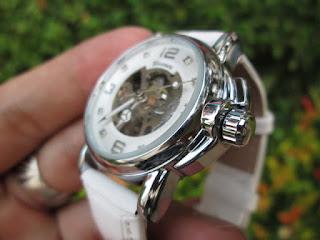 Jam Tangan Automatic Mechanical Winner GMT972-3 Luxury Ladies White Simple Skeleton