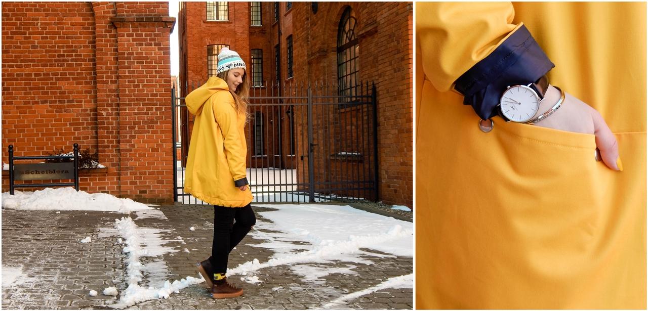 14 agagu żółta szeroka kurtka płaszcz z kapturem polskie marki czapka miłość pan tu nie stał łódź moda blogerka keds kolorowe skarpetki daniel wellington