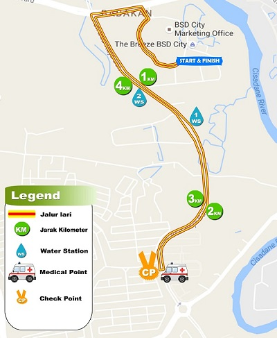 Rute 5K Pertamina Eco Run 2016 Tangerang the breeze bsd city bumi serpong damai