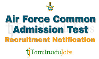AFCAT Recruitment notification of 2019, govt jobs for graduates