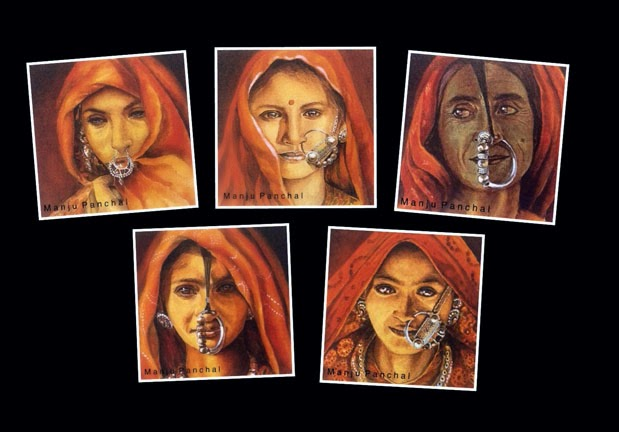 Prints of portraits done using acrylic paints. By Manju Panchal