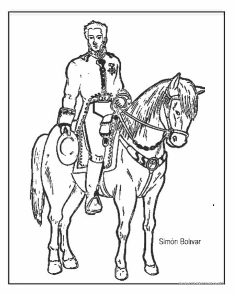 Dibujo para colorear de Simn Bolivar a caballo