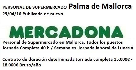 Lanzadera de Empleo Virtual Baleares, Oferta Mercadona Palma de Mallorca