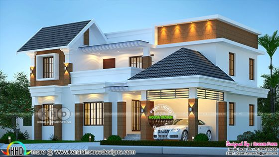 Mixed roof Beautiful house rendering