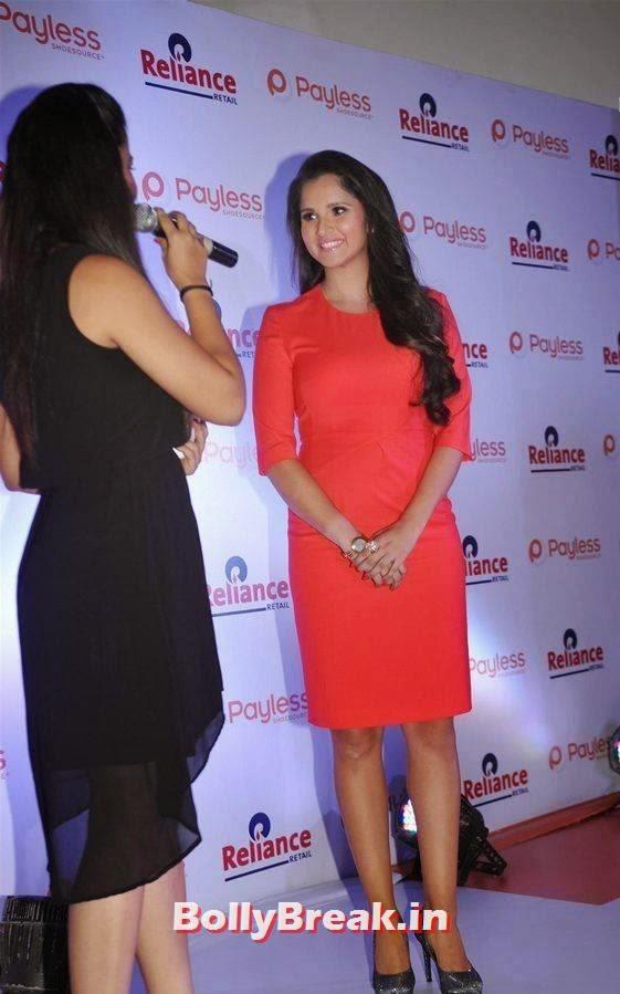 Sania Mirza images, Sania Mirza Hot Pics in Red Midi Dress