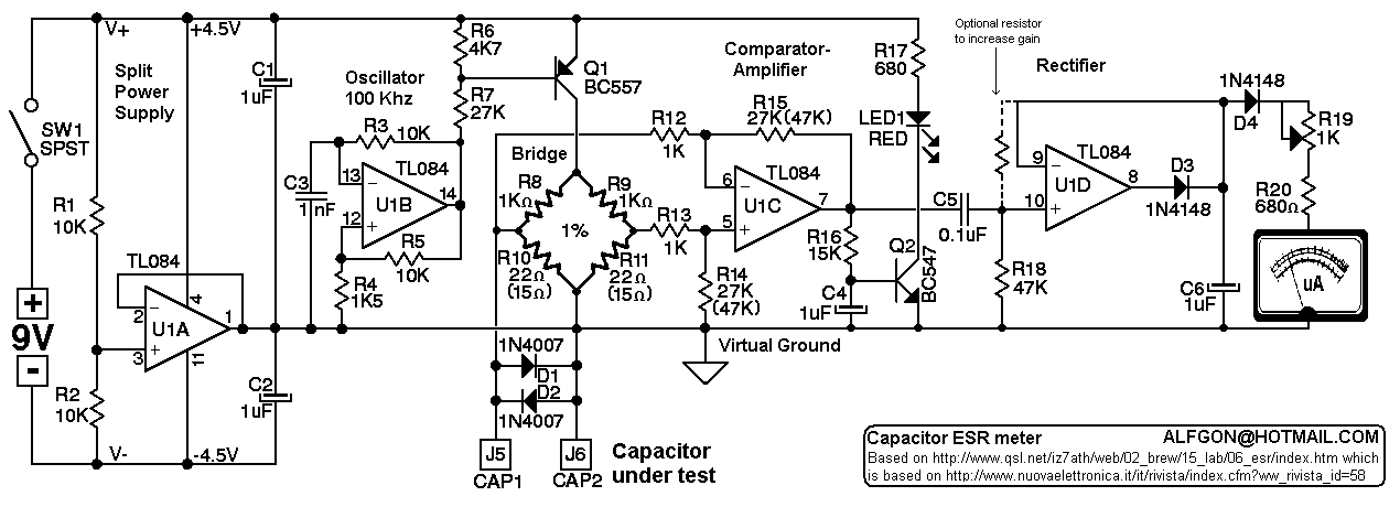 Electronics Etc........................: ESR METER SCHEMATIC