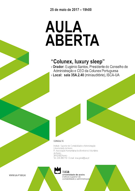 "Aula aberta com o tema ""Colunex - luxury sleep"""