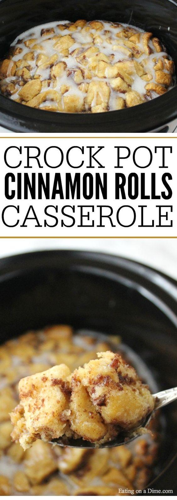 Crock Pot Cinnamon Roll Casserole