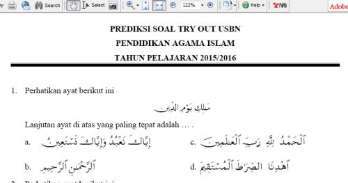 Download Soal Prediksi Usbn Pai Sd Tahun 2016