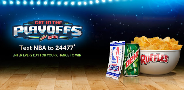 Mountain Dew and Ruffles are celebrating the NBA Basketball Playoffs by giving you a chance to enter daily to win free tickets to basketball games, electronics, money, gift cards and more!