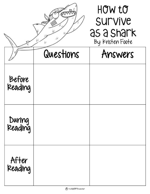 Love this graphic organizer for How to Survive as a Shark