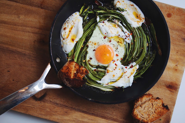 Asparagus Nest Baked Eggs with Yoghurt and Chilli Butter