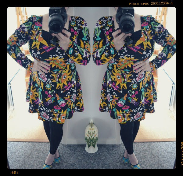 plus size blogger wearing Iron Fist skater dress and tartan shoes