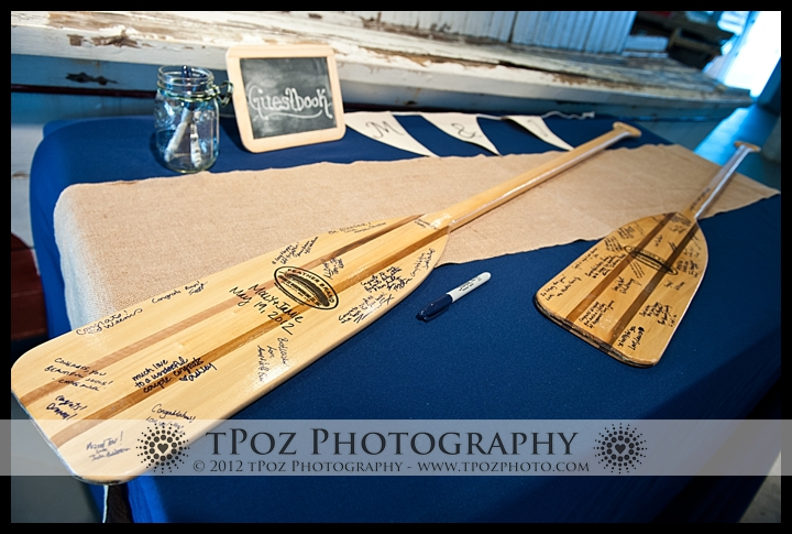 Oars guest book at an Annapolis Maritime Museum Wedding