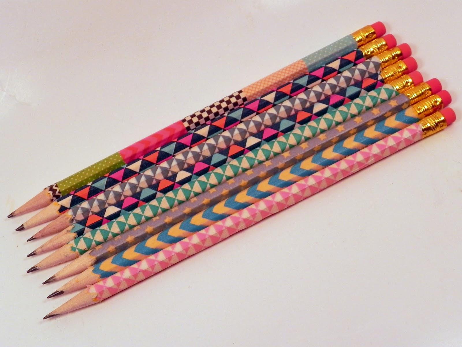 smart n snazzy back to school diy washi tape pencils. Black Bedroom Furniture Sets. Home Design Ideas
