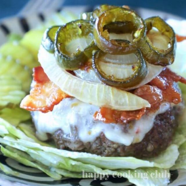 Keto Sheet Pan Burgers with Bacon & Jalapeno