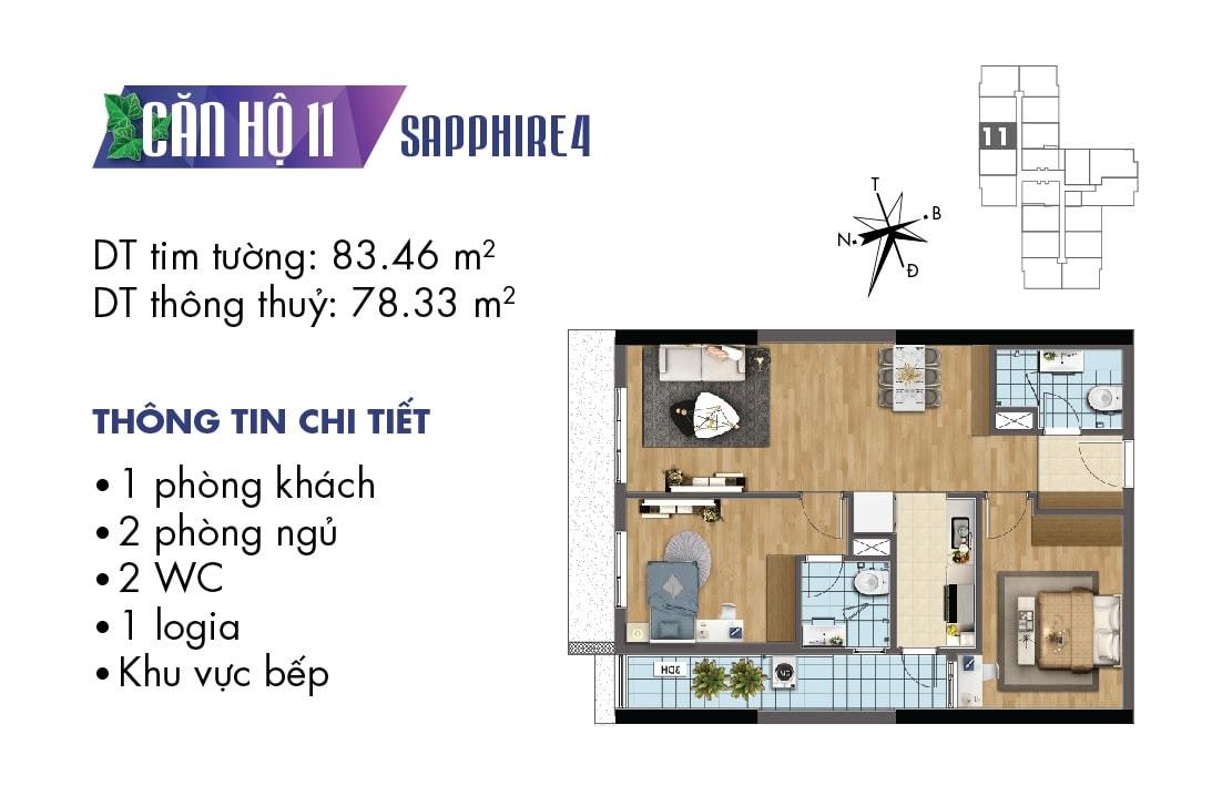 Mặt bằng căn hộ 11 tòa Sapphire 4