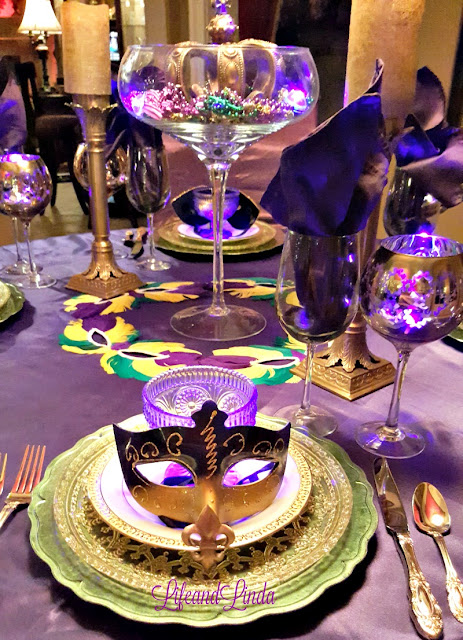 You can see the layers here. Green gold and purple. This is definitely a fun table! & Carnival Party Time Tablescape | Life and Linda
